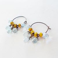 Rustic saffron yellow & blue luster czech glass hoops, tear drop dangle artisan earrings, oxidized brass