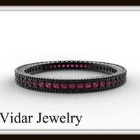 14k Black Gold Pink Sapphire Pave Microband Women Wedding Ring