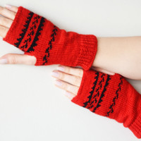 Fingerless gloves red black wool gloves winter gloves birthday gifts valentines day gifts