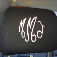 Set of 2 Monogrammed Headrest covers, black, tan, gray