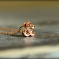 Ampersand Necklace, Available in Gold and Rose Gold