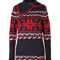 Ralph Lauren Blue Label - Wool-Alpaca Funnel Neck Pullover in Navy Snowflake