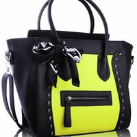 "Black & Yellow Embossed Skull Black Scarf Twin Handle Tote Designer Handbag (12"" x 13"") with PreciousBags Dust Bag"