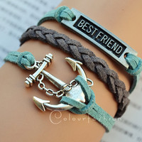 Christmas Gift, Anchor bracelet, Bestfriend Bracelet, Antique Silvery Charm, Silvery Jewelry, Charm Bracelet, Personalized
