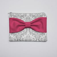 Zipper Pouch / Cosmetic Case - Gray and White Damask Hot Pink Bow
