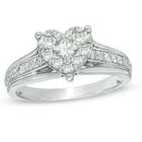 3/4 CT. T.W. Diamond Heart Cluster Ring in 10K White Gold