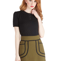 Knitted Dove Olive a Sudden Skirt | Mod Retro Vintage Skirts | ModCloth.com
