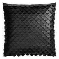 H&M - Leather-look Cushion Cover - Black