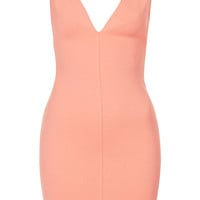**Textured Deep V Bodycon Dress by O...