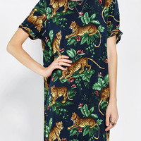 Reverse Leopard Jungle Tee Dress - Urban Outfitters