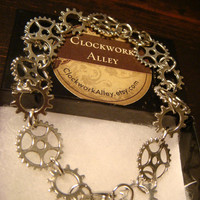 Antique Silver Gear and Cog Steampunk Bracelet (1488)