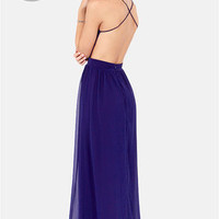 LULUS Exclusive Rooftop Garden Backless Dark Blue Maxi Dress