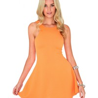 Missguided - Bronie Ribbed Swing Dress In Nectarine