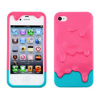 Colorful Cute 3D Melt Ice-Cream Hard Cover Case Skin for Apple iPhone 4 4S 4G M2