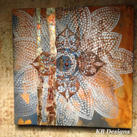 "Original 12"" x 12"" Rust Metallic Canvas Art"