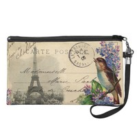 Paris Postcard Bird on Lilacs Wristlet