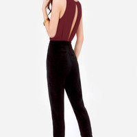 Quantum Leap Burgundy and Black Jumpsuit