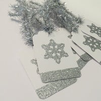 6 Snowflake Tags - Christmas Tags - Winter Gift Tags - Handmade