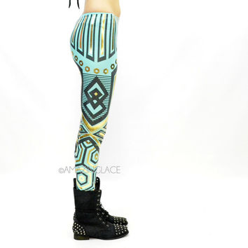 SZ LARGE B52 Mint Aztec Tribal Foil Leggings