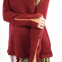 Zip It Wine Knit Sweater