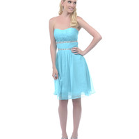 SALE! 2013 Homecoming Dresses - Mint Ruched Empire Waist Strapless Dress
