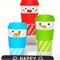 Set of 3 Snowman Holiday Double Wall 12 oz Travel Mugs with Textured Non-Slip Sleeve and HAPPY Slapstick