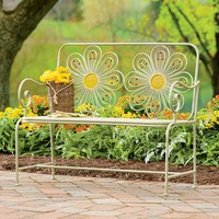 Retro Iron Flower Garden Bench With Distressed Finish - Plow & Hearth