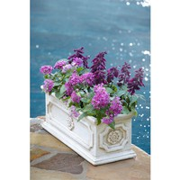 8 in. x 20 in. Cast Stone Aged White Finish Rectangular Planter-PS6030AW at The Home Depot