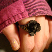 Black Rose Ring in Antique Silver - Adjustable (1394)