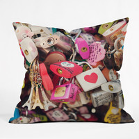 Catherine McDonald What The World Needs Now- LOVE LOCKS - Outdoor Throw Pillow - 30% off sale code MERRY30