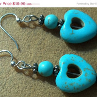 ON SALE Turquoise Heart Earrings