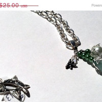 ON SALE Lucite Flower Necklace Swarovski Crystals and Pearls with Dragonfly