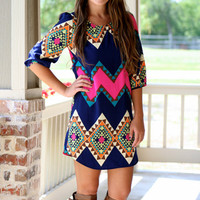 Pop of Pink Aztec Shift Dress | Hazel & Olive