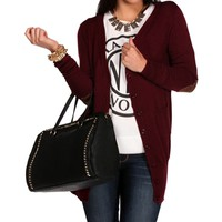 Burgundy Elbow Patch Long Sleeve Sweater