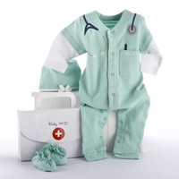 "Baby M.D. Three-Piece Layette Set in ""Doctor's Bag"" Gift Box by Baby Aspen - Personalize It!"