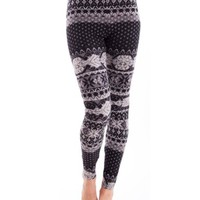 Ladies Grey Winter Patterned Leggings