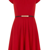 Billie and Blossom red tuck belted skater dress