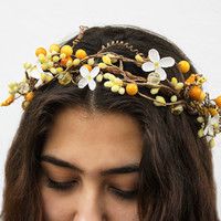 Sunshine Yellow Whimsy Flower Crown - Floral Hair Wreath, Weddings, Bridal Flower Crown, Music Festivals, Yellow, Wedding Accessories, Tiara