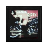 Riding Dirty Woman On A Motorcycle Trinket Box