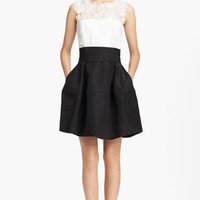 Oscar de la Renta Lace Overlay Silk Faille Dress | Nordstrom