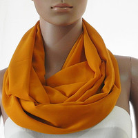 Solid Orange Infinity Scarf - Circle Loop Scarves - Long Shawl Scarf Soft Cozy Fashion Scarf - Gift Handmade Accessories for Women