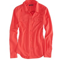AEO FACTORY CHIFFON BUTTON DOWN