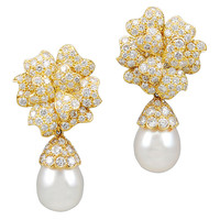VAN CLEEF & ARPELS Diamond & Pearl Earrings