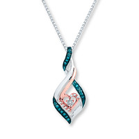 Artistry Diamond Necklace 1/6 ct tw Blue/White Sterling Silver