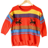 Orange 8-Bit Reindeer Hi-Lo Ugly Ski Sweater