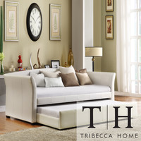 TRIBECCA HOME Deco White Faux Leather Modern Daybed with Trundle