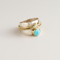 Sterling Silver Gold and Silver Turquoise Band Ring - World Market