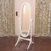 Bella Collection White Cheval Rose Floor Mirror