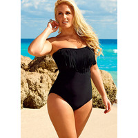 Black Fringe Bandeau/Halter Swimsuit | Lane Bryant