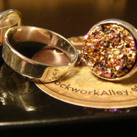 PInk and Gold Faux Druzy / Drusy Ring in Silver - Adjustable (1492)
